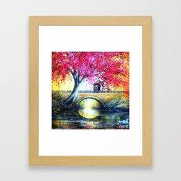 Tardis At The Bridge Autumn Blossom Framed Art Print