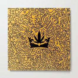 """Uptown Growlab """"Calm in the Chaos"""" Cannabis Crown Print  Metal Print"""