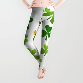 Green and gold shamrock pattern Leggings