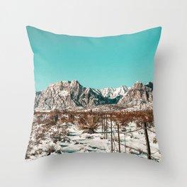 Vintage Desert Fence // Red Rock Canyon Winter Snow Mountain Range Landscape Photograph Throw Pillow