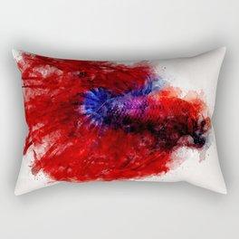 Betta fighting fish artistic watercolor Rectangular Pillow