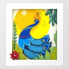 Peacock Paper Art Art Print