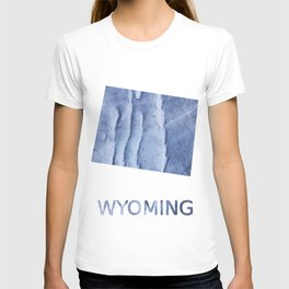 Wyoming map outline Blue watercolor T-shirt