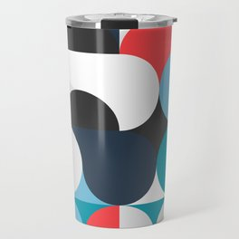 Circles Curves Shapes, Abstract and Geometry, Red, White, blues, black Travel Mug
