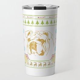 Bulldog Christmas Ugly Sweater Design Shirt Travel Mug