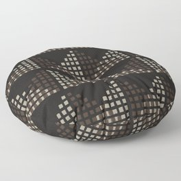 Layered Geometric Block Print in Chocolate Floor Pillow