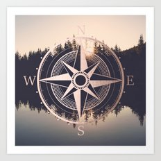Rose Gold Compass Forest Art Print