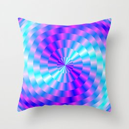 Spiral Rings in Pink and Blue Throw Pillow