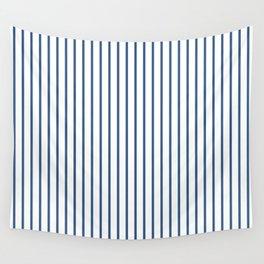 Iris Blue Pinstripe On White Wall Tapestry
