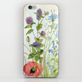 Floral Watercolor Botanical Cottage Garden Flowers Bees Nature Art iPhone Skin
