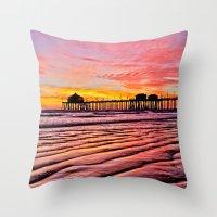 calendar 2015 Throw Pillows featuring HB Sunsets Calendar Cover 2015 by John Minar Fine Art Photography