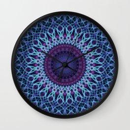 Mandala in dark and light blue tones Wall Clock