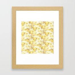 Palm Leaves_Gold and White Framed Art Print