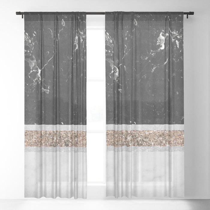 Black and White Marble Gold Glitter Stripe Glam #1 #minimal #decor #art #society6 Sheer Curtain
