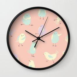 Pastel Pigeons Wall Clock