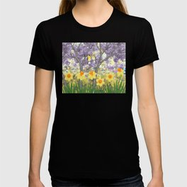 goldfinches, lilacs, & daffodils T-shirt