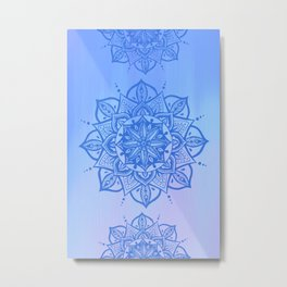 Blue ombre bohemian mandalas Metal Print