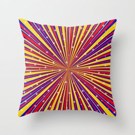 Red Yellow Blue And Rays Background With Stars Throw Pillow