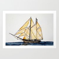 sail Art Prints featuring sail by The Traveling Catburys