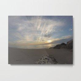 Cloudy Beach Sunrise Metal Print
