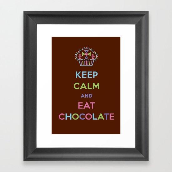 Keep Calm Eat Chocolate Framed Art Print