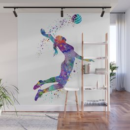 Volleyball Girl Watercolor Art Print Sports Art Painting Home Decor Birthday Gift Wall Mural