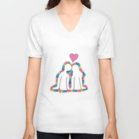 valentines V-neck T-shirts featuring Valentines Day! by Emma's Designs