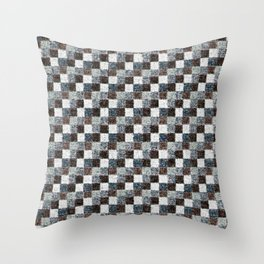Rustic Gray Black Brown Patchwork Throw Pillow