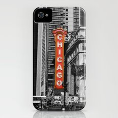 Black and White with Red Chicago Theatre sign Photography Slim Case iPhone (4, 4s)