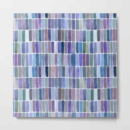 Watercolor Blue Swatches Metal Print