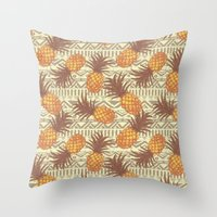 pineapples Throw Pillows featuring pineapples by Julia