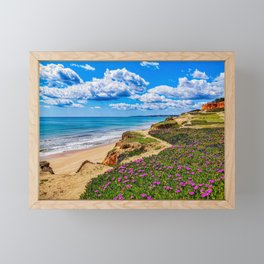 Orange cliffs on the beach Framed Mini Art Print