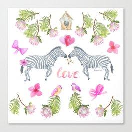 Groovy Kind Of Zebra Love - Bagaceous Canvas Print