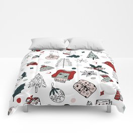 Christmas holiday pattern, winter hand drawing background. Comforters