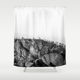 Gulls on The Cliff - Scene in Black and White #decor #society6 #buyart Shower Curtain