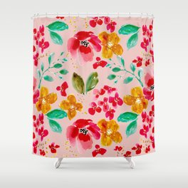 Poppies and Petals on Pink Shower Curtain