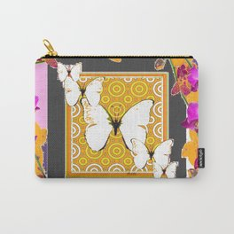 White Butterflies Pattern Purple-Pink Orchids Gold Art Carry-All Pouch