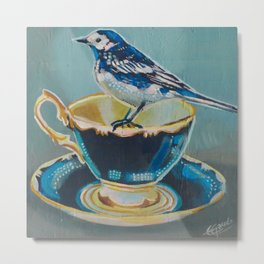 pied-wagtail and tea cup Metal Print
