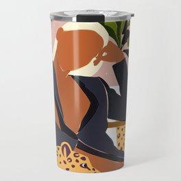 Girl Boss, Woman Empower Feminism Cheetah Illustration, Wild Cat Tiger Boho Leopard Tropical Moon Travel Mug