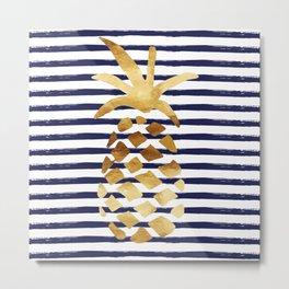 Pineapple & Stripes - Navy / White / Gold Metal Print