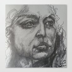 Pencil Sketch of Female Face/Portrait. Graphite Canvas Print