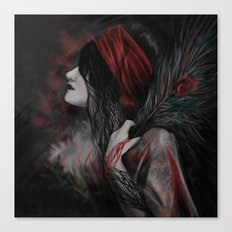 Artwork of Woman with Feather Canvas Print