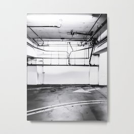 underground parking lot with tube in black and white Metal Print