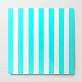 Vertical Stripes (Aqua Cyan/White) Metal Print