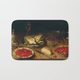 Old painting - Berries and artichokes Bath Mat