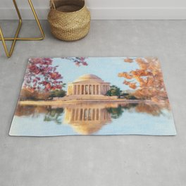 Cherry Blossoms surround the Jefferson Memorial in DC Rug