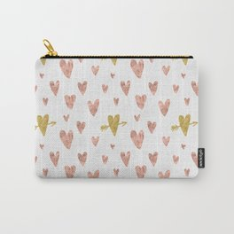 Yellow Rose Gold Hearts Pattern Carry-All Pouch