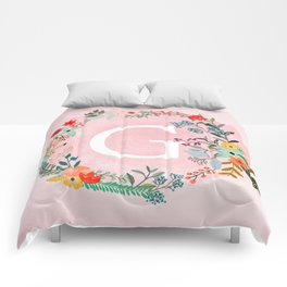 Flower Wreath with Personalized Monogram Initial Letter G on Pink Watercolor Paper Texture Artwork Comforters