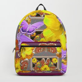 LILAC BUTTERFLIES & YELLOW AMARYLLIS FLOWERS Backpack