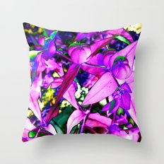 Pink Altered Flowers Throw Pillow